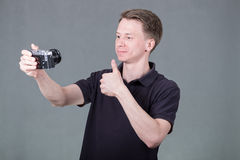Young guy taking selfie Royalty Free Stock Photography