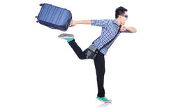 Young guy with travel case. On white Royalty Free Stock Images