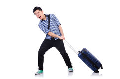 Young guy with travel case Royalty Free Stock Photos