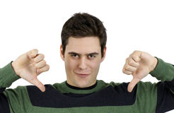 Young guy with two thumbs down Stock Photography