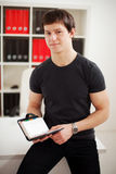 Young guy using diary Royalty Free Stock Photos