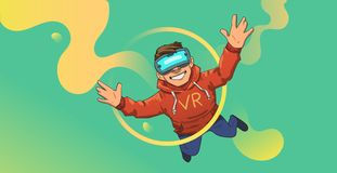 Young guy in VR headset flying on abstract colorful neon background. Happy kid playing in virtual reality. Flat vector vector illustration
