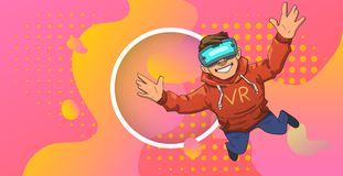 Young guy in VR headset flying on colorful abstract neon background with circle in the middle. Happy kid playing in stock illustration