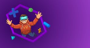 Young guy in VR headset flying among 3D objects on black background. Happy kid in virtual reality. Colorful flat line vector illustration