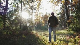 A young guy walks through the woods and enjoys life stock footage