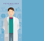 A young guy in a white coat psychologist. Royalty Free Stock Photo