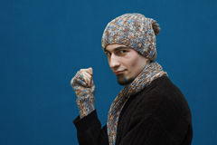 Young guy in winter hat Stock Photos