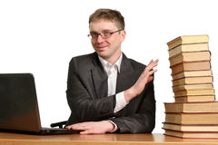 Young guy working at a laptop Stock Image