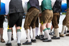 Young guys in Lederhosen stock photography