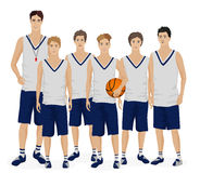 Young guys school basketball team with coach trainer. Vector illustration Stock Image