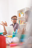 Young guys studying for exams at home Stock Photo