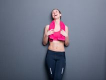 Young gym woman laughing Stock Image