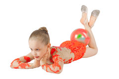 Young gymnast is with the ball Stock Photography