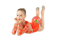 The young gymnast with the ball Stock Photography