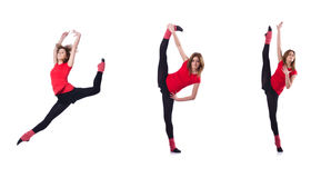 The young gymnast exercising on white Stock Photography