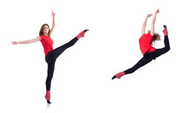 The young gymnast exercising on white Royalty Free Stock Photo