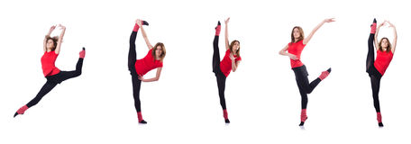The young gymnast exercising on white Stock Images