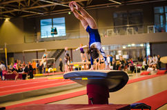 Young gymnast girl performing jump Royalty Free Stock Image