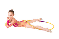 Young gymnast performs exercises with a hoop Royalty Free Stock Photography