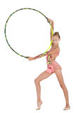 Young gymnast performs with the hoop Royalty Free Stock Photos
