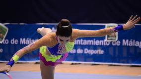 Young gymnast with ribbons on rhythmic gymnastics tournament stock video footage