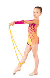 The young gymnast stands with a rope Stock Photo