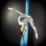 Young gymnast training on aerial silk. Young gymnast training handstand on aerial silk Stock Photo