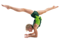 Young gymnast on a white background. Stock Images