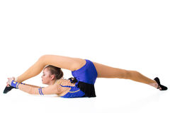 Young gymnast on a white background. Royalty Free Stock Photos