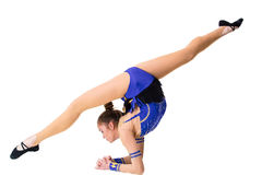 Young gymnast on a white background. Royalty Free Stock Images