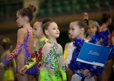 Young gymnasts - contestants. Gimnastics open tournament. 16-17th December 2011, Lviv, Ukraine Royalty Free Stock Image