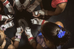Young gymnasts girls circle. Young gymnast girls line arms and bodies Stock Photography