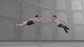 Young gymnasts performing. Young gymnasts levitates performing an exercise in air. This is a 3d render illustration Royalty Free Stock Photo