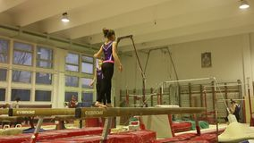 Young gymnasts in training stock footage