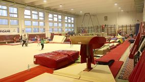 Young gymnasts in training stock video