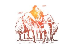 Young gypsy sitting on horseback, roma riding horse in forest, nomad in saddle, free nation, faceless horseman in woods. Gypsy lifestyle, romani culture royalty free illustration