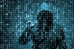 The young hacker in data security concept Stock Photography