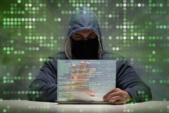 The young hacker in data security concept Stock Image