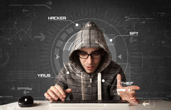 Young hacker in futuristic enviroment hacking personal informati Stock Images