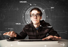 Young hacker in futuristic enviroment hacking personal informati Royalty Free Stock Photo