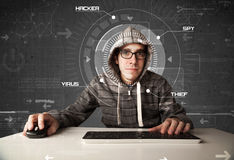 Young hacker in futuristic enviroment hacking personal informati Stock Photos