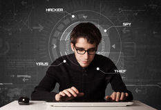 Young hacker in futuristic enviroment hacking personal informati Royalty Free Stock Photos