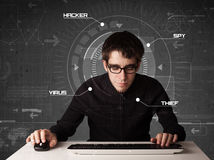 Young hacker in futuristic enviroment hacking personal informati Royalty Free Stock Images