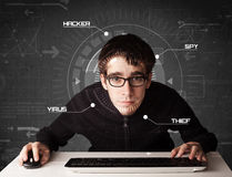 Young hacker in futuristic enviroment hacking personal informati Royalty Free Stock Photography