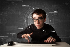 Young hacker in futuristic enviroment hacking personal informati Stock Photography