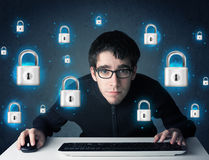 Young hacker with virtual lock symbols and icons Stock Photography