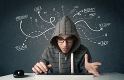 Young hacker with white drawn line thoughts. Young dangerous hacker with white drawn line thoughts Stock Images