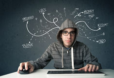 Young hacker with white drawn line thoughts Royalty Free Stock Photos