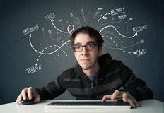 Young hacker with white drawn line thoughts Stock Photos