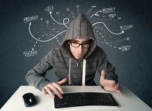 Young hacker with white drawn line thoughts Stock Image